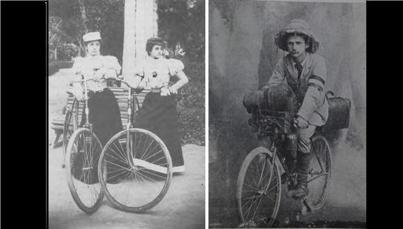 La bicicleta llegó al Perú a fines del siglo XIX. (Fotos: Revista Actualidades, Biblioteca del Insitituto Riva-Aguero/ Colección de Luis Eduardo Wuffarden)