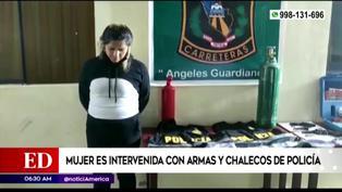 Intervienen a mujer con armas y chalecos de la Policía Nacional