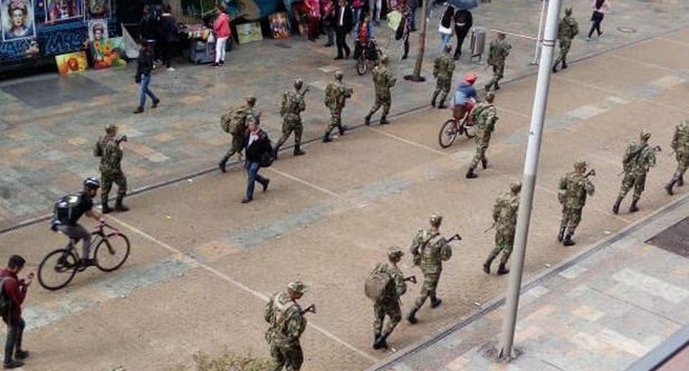 El Gobierno, que este lunes anunció una serie de medidas para mantener el orden el día de las protestas, afirmó que no se trata de una militarización sino de un apoyo a la Policía en sus patrullajes diarios. (Twitter)