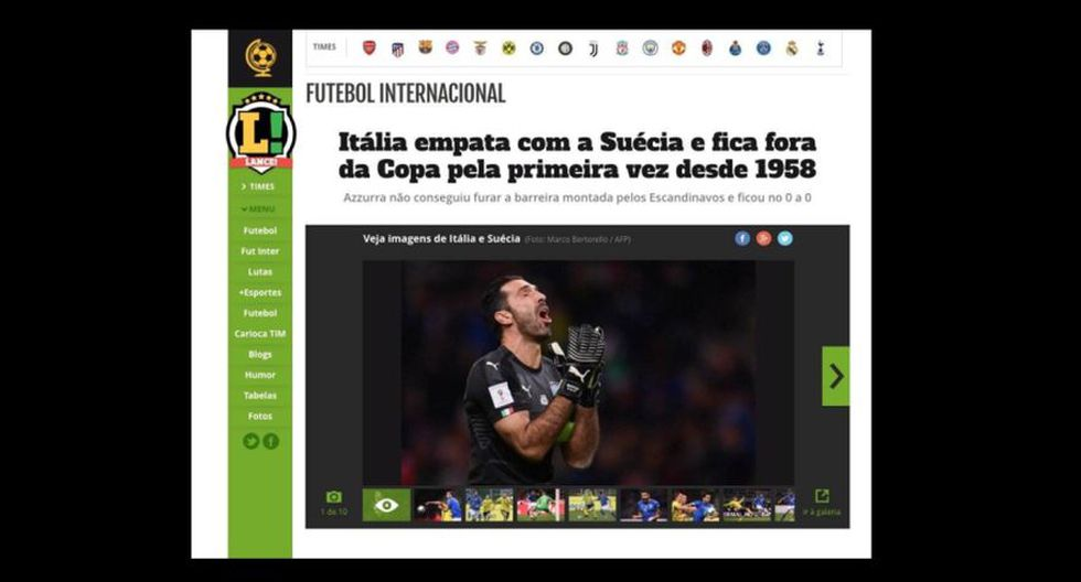 Lance - Brasil. (Foto: captura de pantalla)