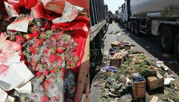 Ica: Cargamentos de verduras y frutas se están malogrando en quinto día de paro agrario (Foto: Carmen Quispe)