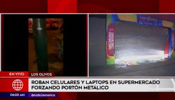 Agente PNP resulta herido de bala tras robo a supermercado Plaza Vea (Captura: América Noticias)