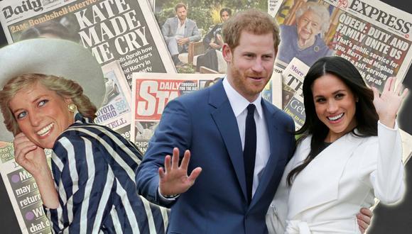 La reciente entrevista de los duques de Sussex, el príncipe Harry y su esposa Meghan Markle, ha reavivado su gresca con los tabloides británicos. A la izquierda Diana de Gales, madre de Harry y otro de los objetivos preferidos de la prensa amarilla. (Foto: AFP/Patrick Riviere/Daniel Leal-Olivas/Glyn Kirk)