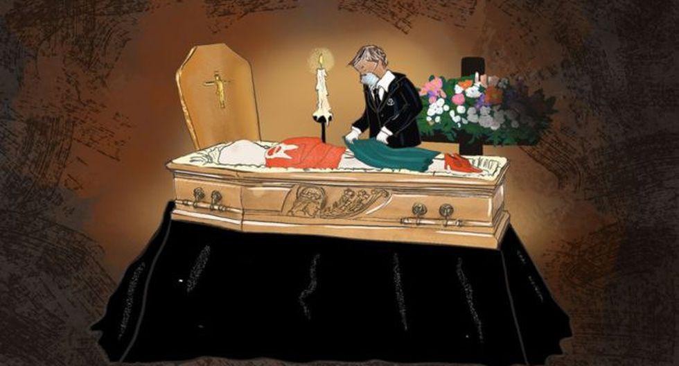 """""""Colocamos la ropa que la familia nos da encima del cadáver, como si estuvieran vestidos"""". Ilustración: JILLA DASTMALCHI, vía BBC Mundo"""