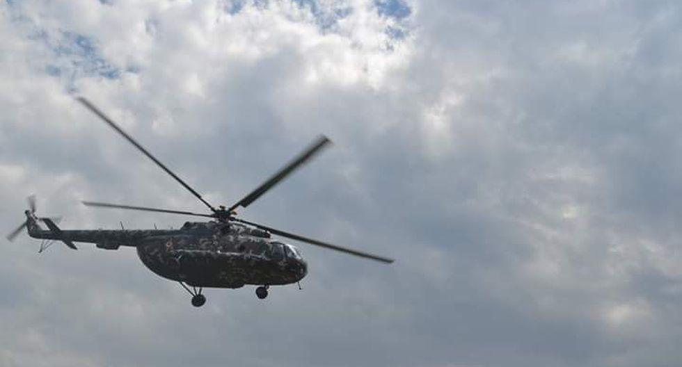 Un helicóptero del Ejército Peruano, que transportaba a una comitiva de militares y policías, se precipitó esta tarde en la región Amazonas (Foto: Wigberto Calongos).