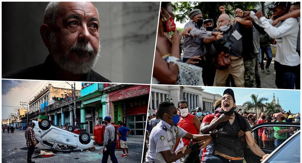 En sentido horario, el escritor cubano Leonardo Padura, una presencia imprescindible para entender desde la ficción la actual crisis social de su país. Le siguen imágenes de las protestas sociales desarrolladas en Cuba este mes de julio del 2021. (Fotos: El Universal GDA/ Yamil Lage para AFP)