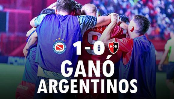 Argentinos Juniors venció a Newell's Old Boys y comparte el liderato de la Superliga argentina junto a Boca Juniors