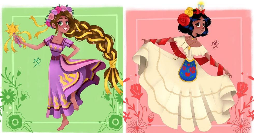 """La artista mexicana Aida Sofia Barba ha sorprendido con la serie de ilustraciones """"Princesas a la Mexicana"""" en redes sociales. (Ilustraciones: IG/ @aidasofiab)"""