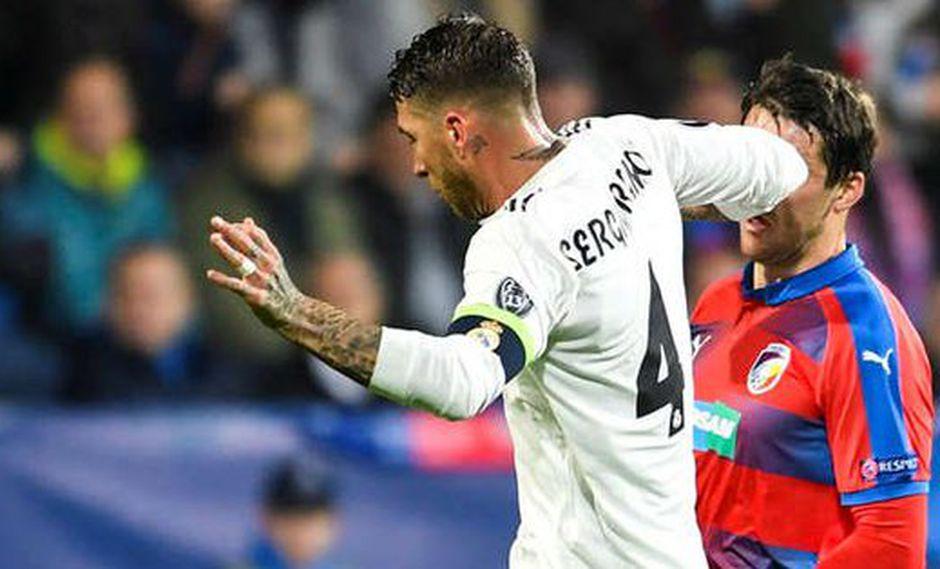 Nuevamente Sergio Ramos está inmerso en una jugada polémica: agredió a un futbolista del Viktoria Plzen con un tremendo golpe en la nariz. (Foto: AFP / Video: YouTube)