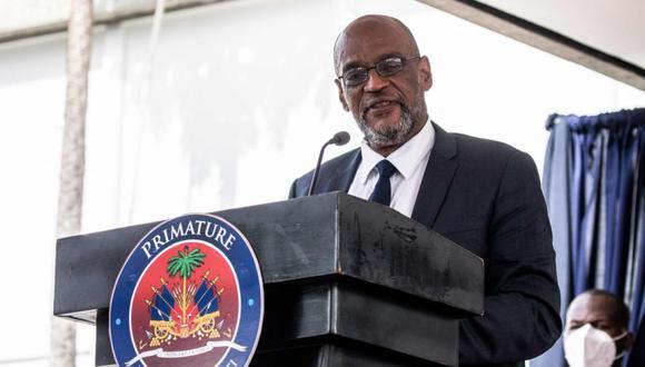 El primer ministro designado, Ariel Henry, durante una ceremonia en La Primature en Puerto Príncipe, Haití. (Foto: Valerie Baeriswyl / AFP).
