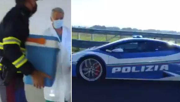 Gracias a la velocidad del Lamborghini Huracán, se pudo salvar una vida. (Foto: @poliziadistato / Twitter)