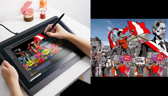 """""""El arte no solo inspira, sino revoluciona y esta es nuestra protesta audiovisual como artistas gráficos"""", dice a Somos Poloverde, uno de los artistas detrás de 'Golpe del pueblo'. (Fotos: Poloverde / captura de pantalla)"""