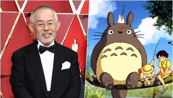"""Toshio Suzuki (izq.), productor de Studio Ghibli, en el Oscar 2017. A la derecha una captura de """"Mi vecino Totoro"""" (1988). Fotos: AFP/ Difusión."""