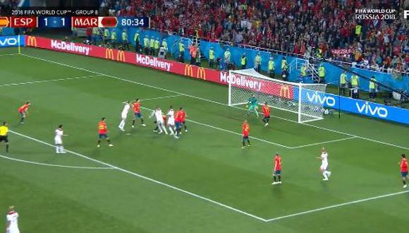 España se desconcentró en un saque de esquina y le permitió a Marruecos concretar el 2-1 a falta de diez minutos para el cierre del partido por Rusia 2018. (Foto: captura de video)