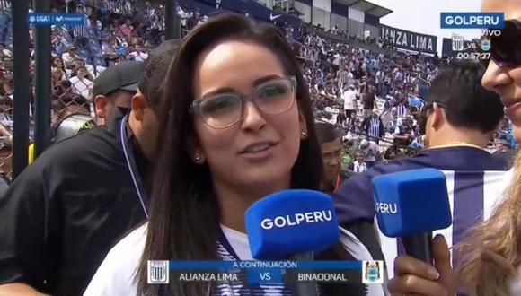 Daniela Darcourt se mandó un blooper antes del partido. (Imagen: GOL Perú)