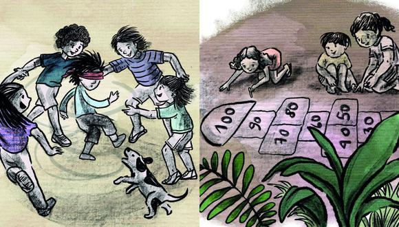 """Ilustraciones de Andrea Lértora para el libro """"Rodillas sucias"""", de Jorge Eslava. (Planeta Junior)"""
