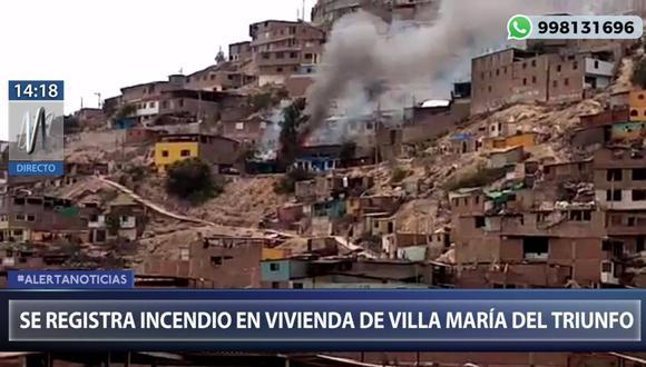n incendio se registra dentro de una vivienda situada en la calle San Miguel en VMT. (Captura: Canal N)