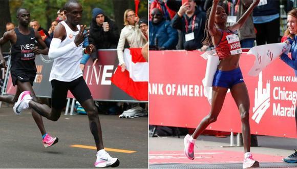Eliud Kipchoge y Brigid Kosgei superaron récords mundiales sobre unas Nike Vaporfly. (Foto: Reuters/AFP)