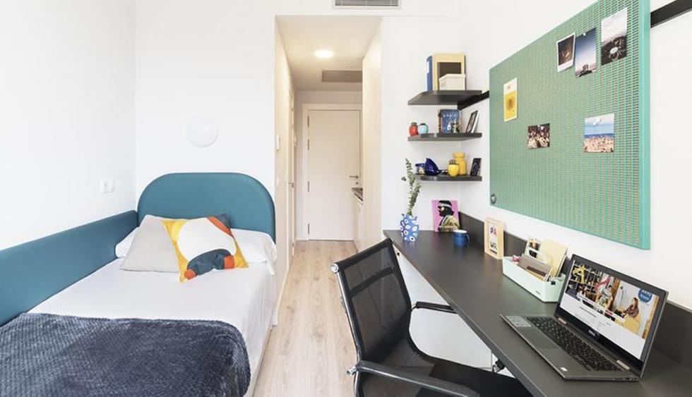 Esta habitación individual de 14m2 es la más económica de la residencia. Cuesta 1.100 euros al mes. (Foto: Difusión)