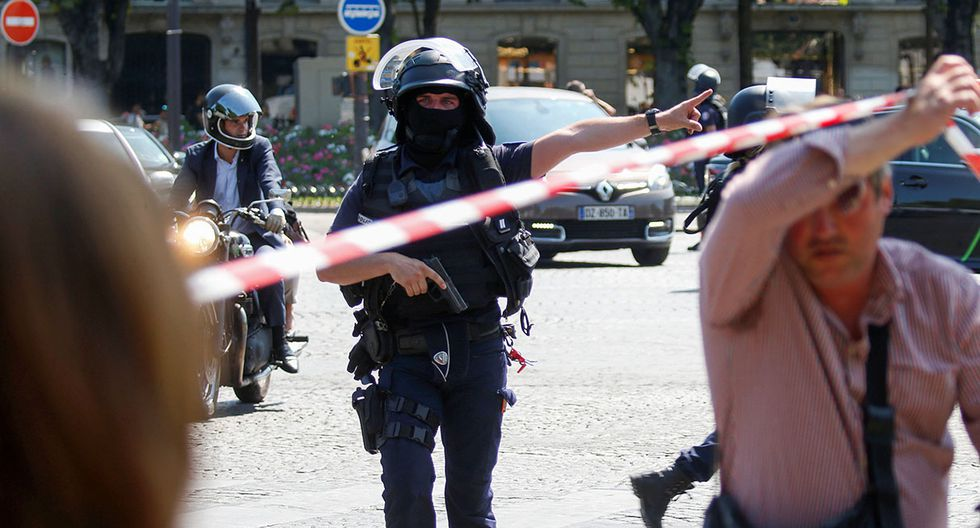 French police secure the area on the Champs Elysees avenue after an incident in Paris, France, June 19, 2017 . REUTERS/Charles Platiau