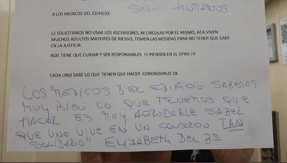 Los inquilinos exigen que los doctores del edificio no puedan utilizar los ascensores por temor a que contagien el Covid-19. (Foto: Twitter)