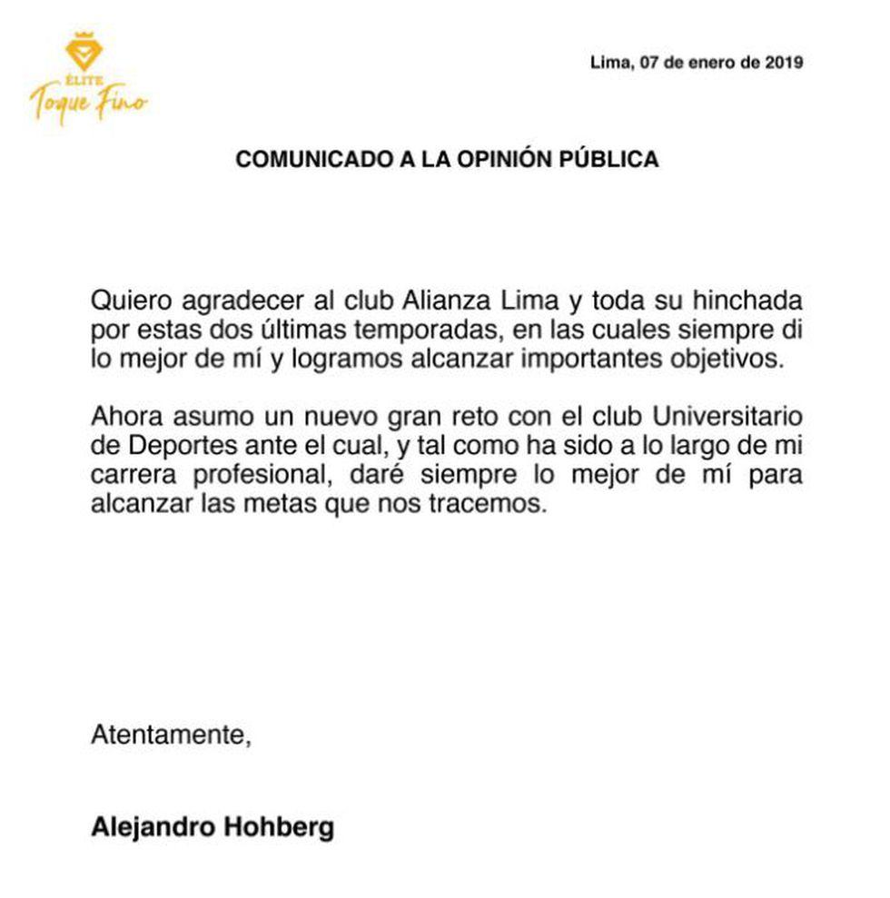 Alejandro Hohberg agradeció a la hinchada de Alianza Lima mediante sus redes sociales. | Foto: Renzo Salazar/GEC