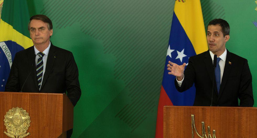 """En nombre del """"pueblo venezolano"""", Guaidó le agradeció a Bolsonaro el apoyo que Brasil le ha dado a """"la lucha"""" por sustituir al Gobierno de Nicolás Maduro. (EFE)."""