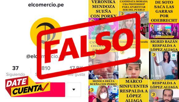 Cuenta falsa de TikTok utiliza el nombre de El Comercio para apoyar a la candidatura de Rafael López Aliaga.