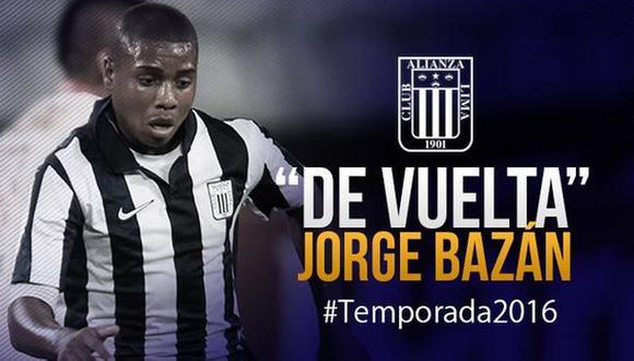Alianza Lima: Jorge Bazán regresa a La Victoria el 2016