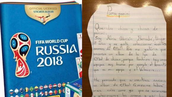 La carta enviada a Panini por la niña. (Ellas Fútbol)