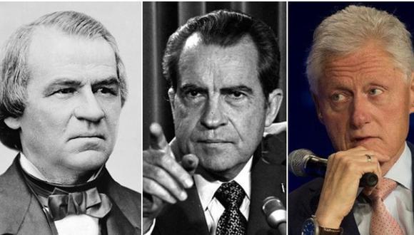 De izquierda a derecha: Bill Clinton, Richard Nixon y Andrew Johnson, tres presidentes sobre lo que se cernió la sombra del impeachment antes de Trump. (AP/Wikimedia Commons).