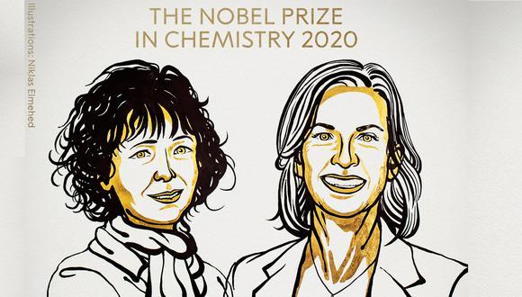 """La francesa Emmanuelle Charpentier y la estadounidense Jennifer Doudna recibieron el galardón por sus investigaciones sobre las """"tijeras moleculares"""", capaces de modificar los genes humanos. (Imagen: The Nobel Prize / Twitter)"""