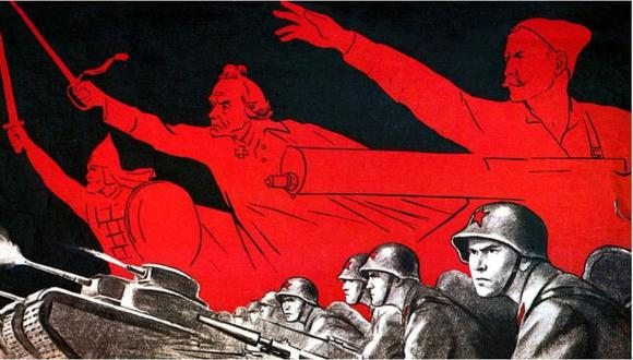 La propaganda fue clave en la Segunda Guerra Mundial. La soviética, como en este cartel, trató de mantener alta la moral en la resistencia a la invasión nazi. (Getty Images).