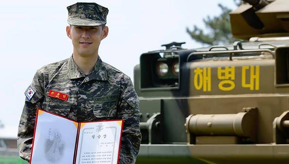 'Sonny' cumplió tres semanas con el Cuerpo de Marina surcoreno. (Foto: AFP)