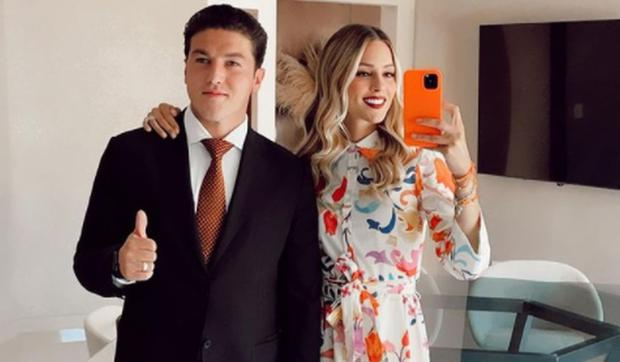La joven junto a su esposo Samuel García. (Foto: Mariana Rodríguez / Instagram)