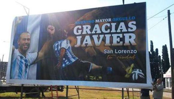 Este cartel espera a Javier Mascherano en su ciudad natal
