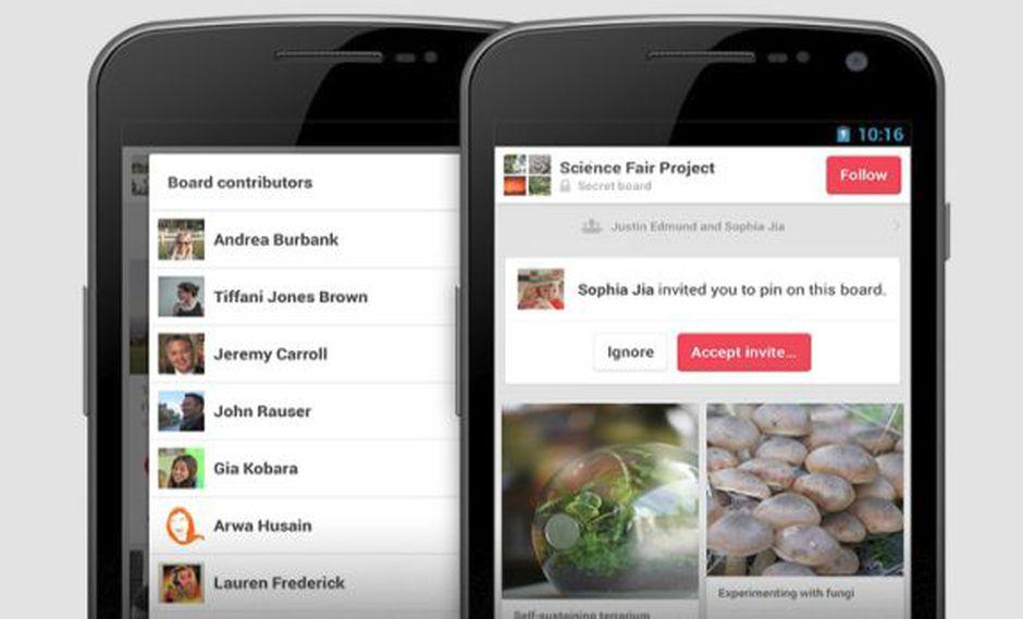 Pinterest actualiza su aplicación para Android