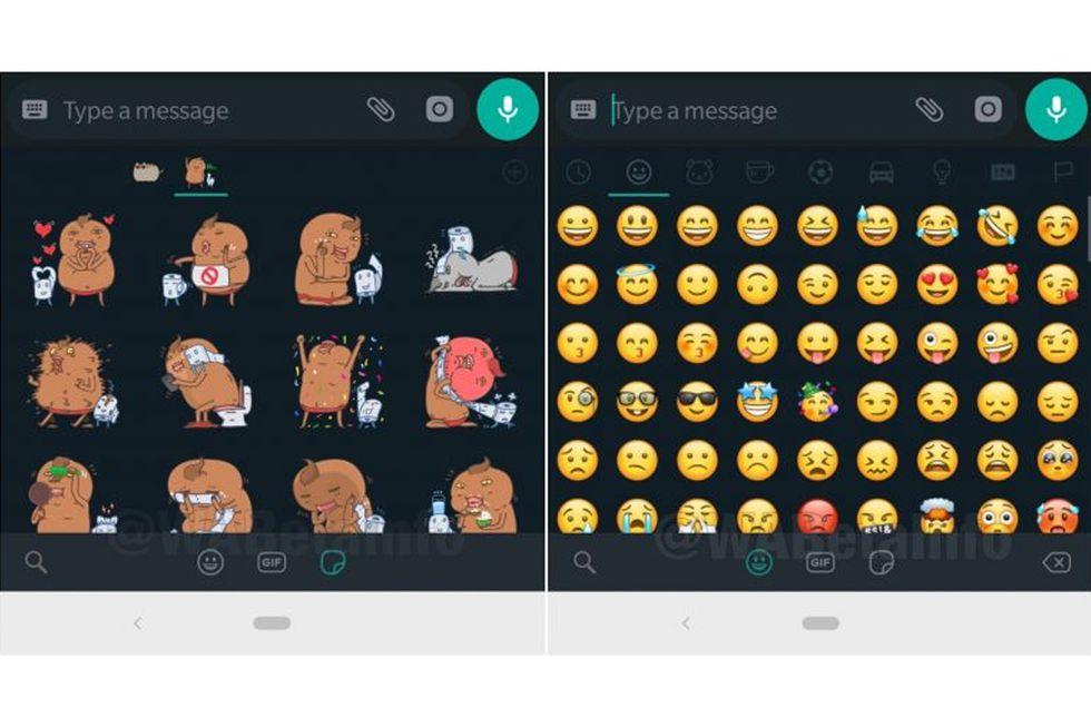 """Así lucirá el apartado de emojis y stickers en el """"modo oscuro"""" de WhatsApp. (Foto: WAbeta Info)"""
