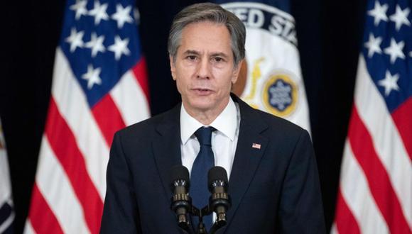El secretario de Estado de EE.UU., Antony Blinken, habla con el personal del Departamento de Estado. (Foto: AFP / SAUL LOEB).