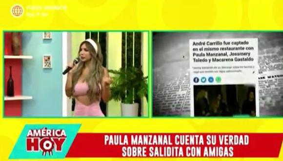 Paula Manzanal sobre supuesto ampay con André Carrillo y Jefferson Farfán. (Foto: captura de video)