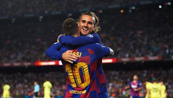 Griezmann celebra con Messi su gol frente al Villarreal. (Foto: Reuters)