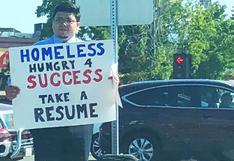 David, el mendigo que se cansó de recibir limosnas y repartió su CV en la calle