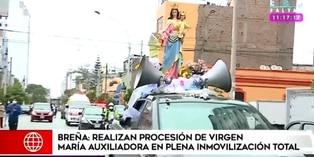 Breña: realizan procesión de Virgen María Auxiliadora en plena inmovilización social