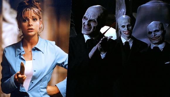 """(Izquierda) Sarah Michelle Gellar durante la primera temporada de """"Buffy, la cazavampiros"""" (Derecha) 'Los caballeros"""", protagonistas de """"Hush"""", uno de los mejores capítulos de la serie."""