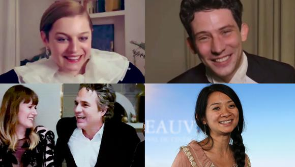 "En sentido horario, los ganadores de Golden globes Emma Corrin, Josh O'Connor (ambos por ""The Crown""), Chloé Zhao (""Nomadland"") y Mark Ruffalo (""I Know This Much is True""). Fotos: TNT/ AFP."