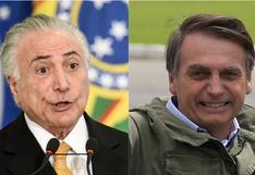 """Temer felicita a Bolsonaro y confía en que gobernará Brasil con """"paz y armonía"""""""