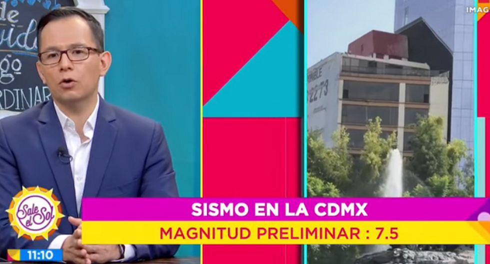 """El programa mexicano """"Sale el sol"""" publicó imágenes del preciso momento en que dos edificios de Ciudad de México, de distintos tamaños, comienzan a moverse debido al terremoto de magnitud 7,5 con epicentro en Oaxaca. (Captura de video)."""