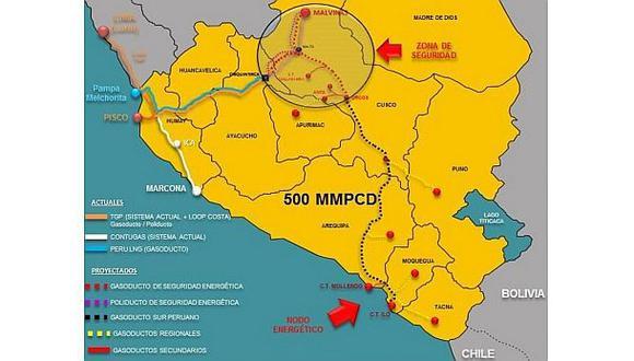 Así será el recorrido del Gasoducto Sur Peruano