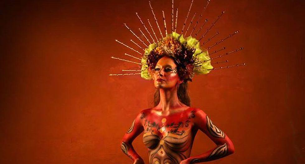 Trabajo de body paint de la artista caleña Carolina Cruz Alegría.