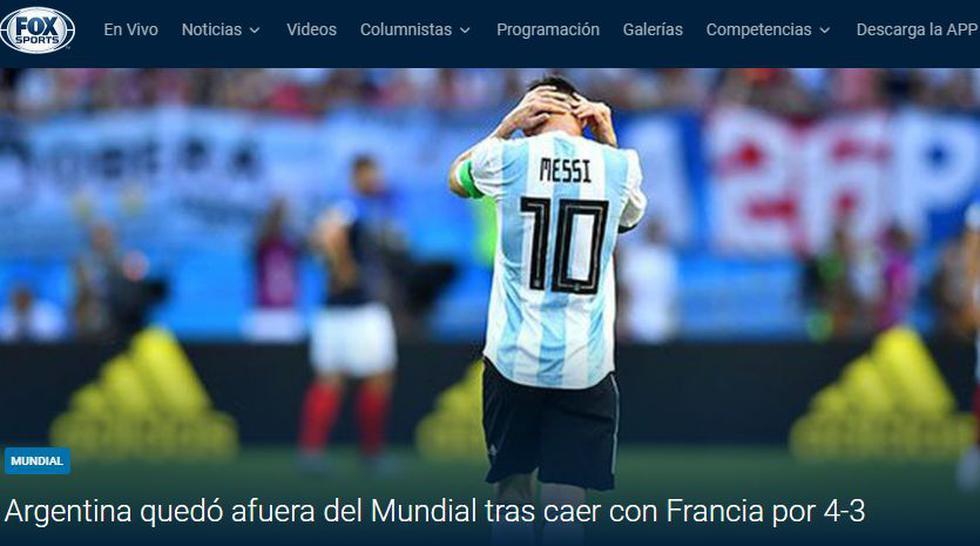 Argentina vs. Francia: portada del medio argentino 'FOX Sports'. (Foto: captura)
